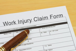 paperwork of a work injury claim form