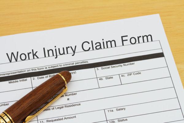 paperwork of a work injury claim form