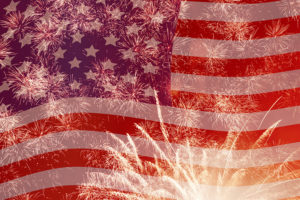 the american flag with fireworks