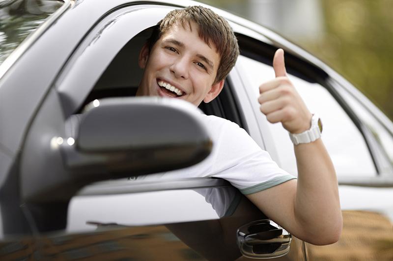 a teen driver in a car