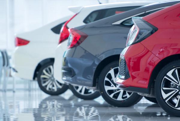 cars in car dealership